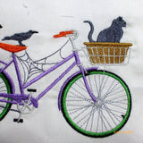 Halloween Bike Pillow cover - Embroidered bicycle pillow - seasonal bike pillow covers - Julie Butler Creations