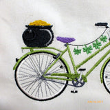 Bicycle Pillow covers - Embroidered bicycle pillow - St Patrick's Day Decor - Julie Butler Creations