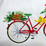 December Bike Pillow cover - Embroidered bicycle pillow - seasonal pillow covers - Christmas pillows