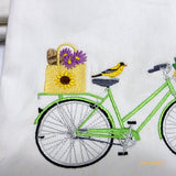 August Bike Pillow cover - Embroidered bicycle pillow - seasonal bike pillow covers - Julie Butler Creations