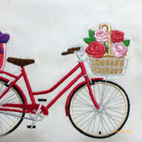 Valentine Bicycle Pillow covers - Embroidered bicycle pillow - bike pillow covers - Julie Butler Creations