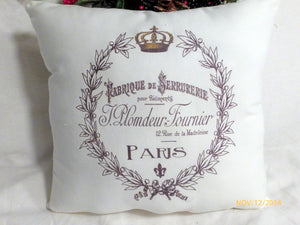 Paris pillow - Crown Pillow - Vintage French Pillow - Decorative Throw Pillow - French Country Decor - Julie Butler Creations