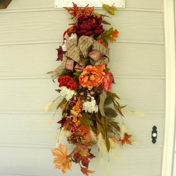 Fall Peonie door swag - Thanksgiving Door Swags - Fall door swags - Door Swags - Julie Butler Creations