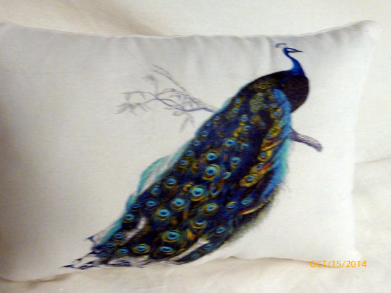 Peacock Accent pillow - Linen pillow - Vintage French Pillow - Decorative Throw Pillow - Julie Butler Creations