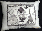 Vintage Paris Pillows - ladies pillows - Bicycle pillows - Bike Pillows - Paris Pillows - Julie Butler Creations