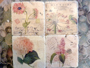 Stone Coasters - Pink Paris coasters - Vintage French Postcards - Pink Floral