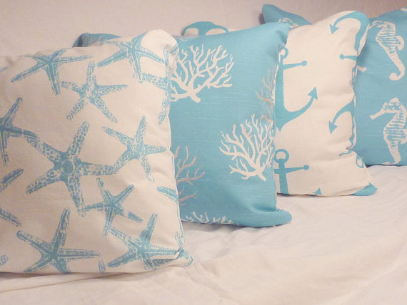 Nautical Pillow covers Set of 4 - Coastal blue - Premier Prints Slub Drapery Fabric - Julie Butler Creations