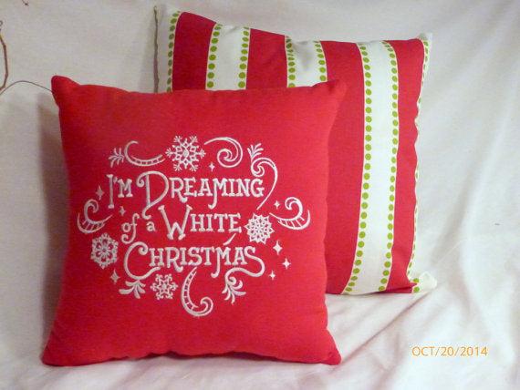 Christmas pillow - Dreaming of a White Christmas - Embroidered Pillows - Red linen pillow - Julie Butler Creations