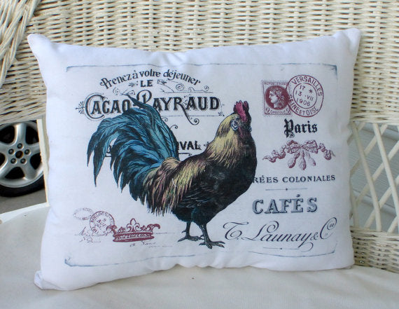 Rooster Accent pillow - Rooster Decor - Vintage French Postcard - Farm house pillow - Julie Butler Creations