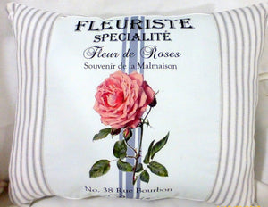 Paris rose pillow - Vintage French Ad Pillow - Decorative Throw Pillow - French country decor - Julie Butler Creations