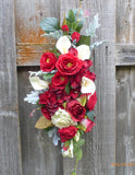 Wedding Arch Flowers - Wedding swag - Wedding Arbor Decorations - Red and White - Julie Butler Creations