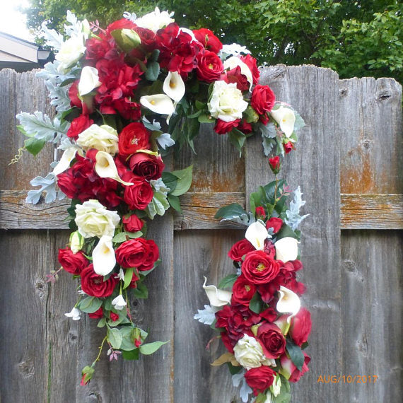 Wedding Arch Flowers - Wedding swag - Wedding Arbor Decorations - Red and White