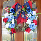 Patriotic Door Wreath - Summer Grapevine Wreath - 4th of July Wreath - Red, White and Blue - Julie Butler Creations