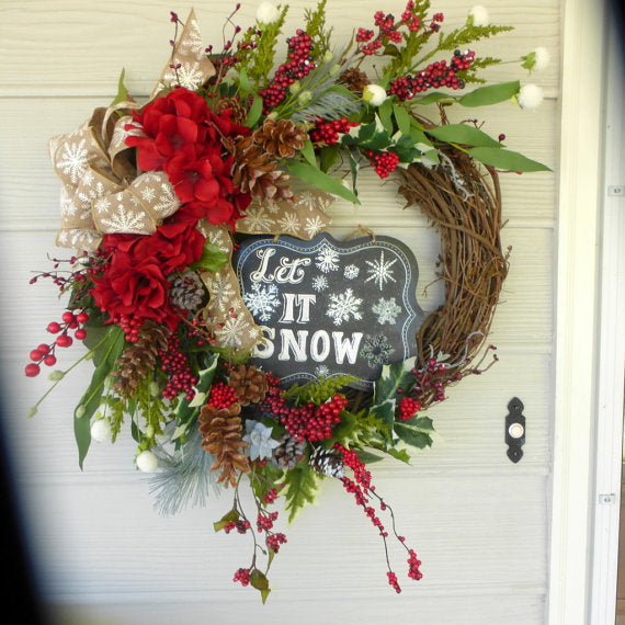 Christmas chalkboard Wreath - Christmas Decorations - Wreaths - Holiday Door Decor - Julie Butler Creations