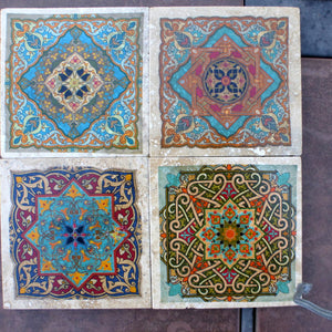 Moroccan Travertine Coasters - Stone Coasters - Decorative tile coasters - set of 4 - coasters - Julie Butler Creations