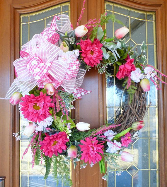 Spring Floral Wreath   Wreaths  Summer Wreath   Front Door Decor  Pink  Easter Wreath ...