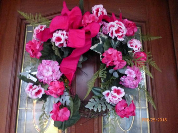 Spring Wreath   Wreaths   Summer Wreath   Front Door Decor  Shocking Pink  Wreath ...