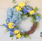 Blue and Yellow Summer wreaths -Spring wreath - Front door wreath - floral wreaths - Julie Butler Creations
