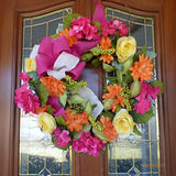 Bright Summer wreath -Spring wreath -  French Country Decor - Hydrangea wreath - Julie Butler Creations