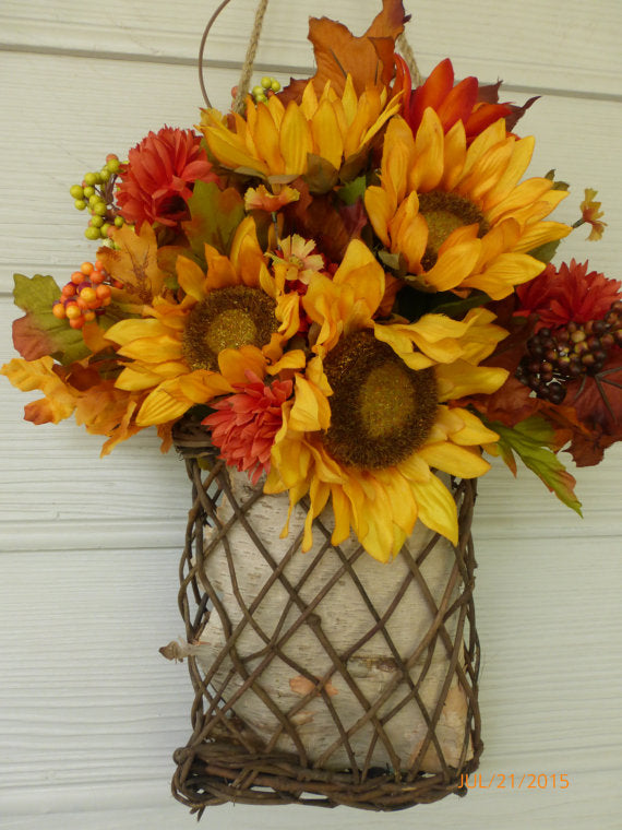 Sunflower wall Pocket - Fall Wall Pocket - Fall Wreath - Fall floral basket- Sunflowers