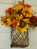 Sunflower wall Pocket - Fall Wall Pocket - Fall Wreath - Fall floral basket- Sunflowers - Julie Butler Creations