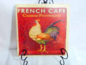 French Country Stone Trivet - Vintage French Cafe Ad - Rooster - 6x6 Travertine Trivet - Julie Butler Creations
