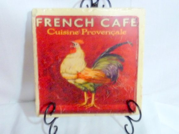 French Country Stone Trivet - Vintage French Cafe Ad - Rooster - 6x6 Travertine Trivet
