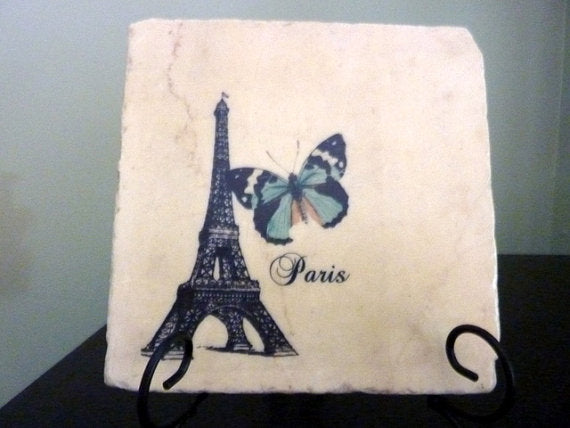 Eiffel Tower Trivet - Paris Trivet - French Country Stone Trivet - Paris, butterfly - 6x6 Tile Trivet