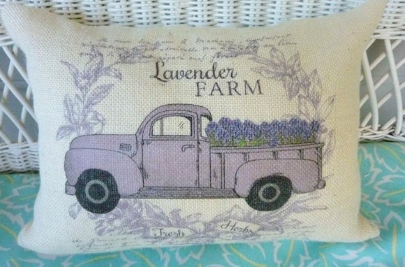 Truck Pillow Cover, Burlap Pillow cover, Lavender Farm cover, Farmhouse pillow cover