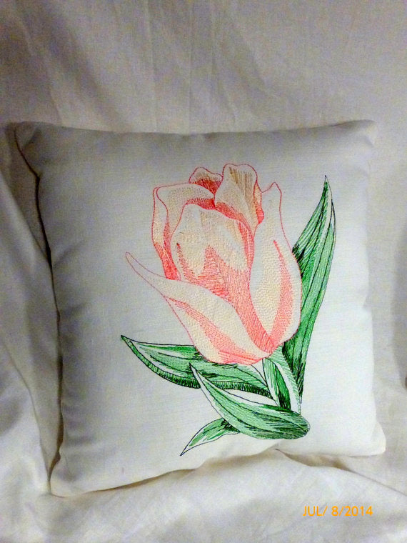 Tulip pillows - Embroidered pillows - Linen pillow Peach embroidered Tulip - Julie Butler Creations