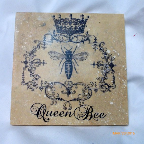 Queen Bee Trivet - Bee & Crown - French Country decor - Stone Trivets - Gift for her - Marble trivet - Julie Butler Creations