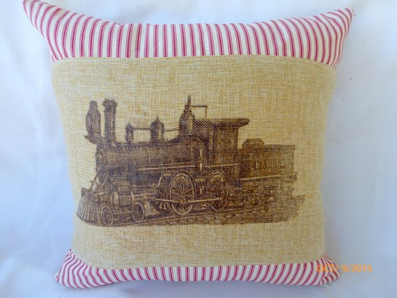 Train Pillow Covers -Train pillows - Boys room decor - Vintage railroad