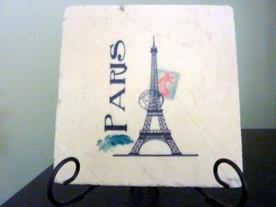 French Country Stone Trivet - Paris, Eiffel Tower, Vintage, postmark - Julie Butler Creations