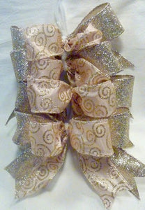 Christmas tree bow set, set of 8 Rose Gold bows, Glittered tree bows,