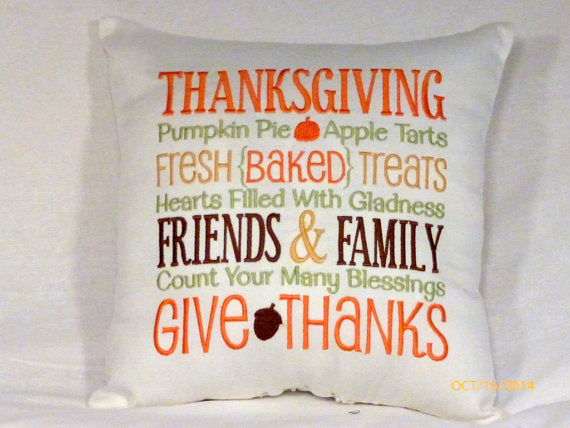 Thanksgiving Pillow - Autumn decorations - Embroidered Subway art - embroidered pillow