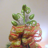 Tree topper - Tree decorations - Bow Tree Topper -Red and Green Christmas tree topper - Julie Butler Creations