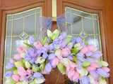 Spring Pastel Tulip Wreath - Summer Wreath - Easter wreath - Front door wreath - spring wreath - Julie Butler Creations