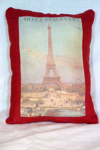 Burgundy Linen Pillow - Paris Pillow - accent pillow - Eiffel Tower - French Pillow - Julie Butler Creations