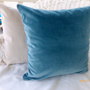 Velvet pillow cover -Blue velvet pillow - Robert Allen Lagoon Fabric - soft velvet on both sides - Julie Butler Creations