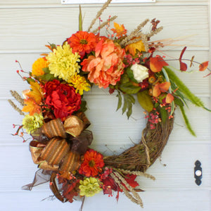 Fall Peonie wreath - Autumn Wreath - decorative wreaths - Fall wreath - Julie Butler Creations