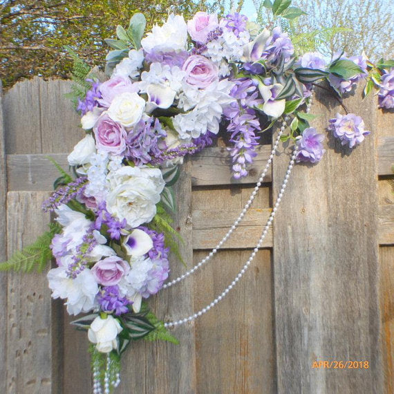 Wedding Arch Flowers - Lavender, Purple and White Wedding swag - Wedding Arbor Decorations