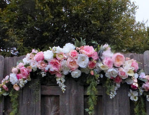 Wedding Arch Flowers- Pink and white Roses - Wedding Flowers - Wedding decorations - Julie Butler Creations