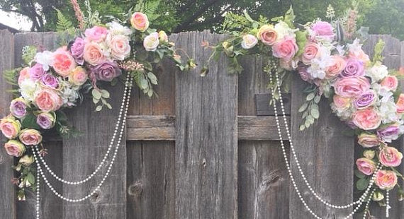 Wedding Flowers - Arch Corner Swags -Pastel Rose arbor - Wedding Arbor Decorations
