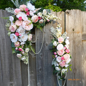Wedding Arch  - Pink and White Rose swag - Wedding swag - Wedding Arbor Decorations
