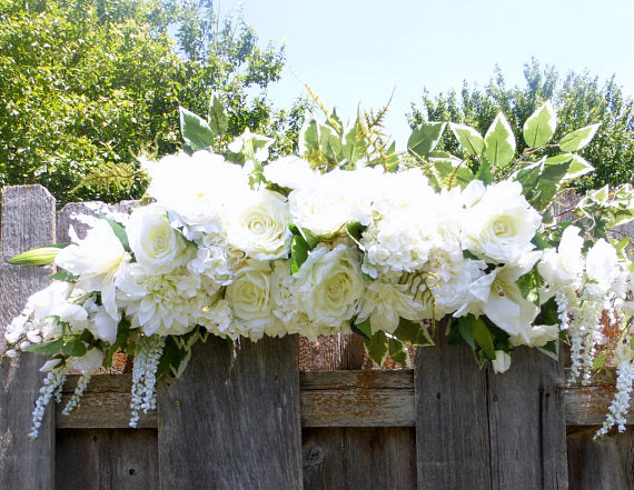 White Rose Arbor swag - White Wedding Flowers - Wedding Arch Decorations - Wedding decorations