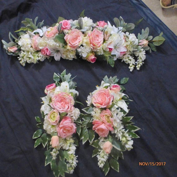 Wedding Arch and Tiebacks - Pink and white Roses - Wedding Flowers - Wedding swag - Julie Butler Creations