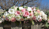 Pink and white Rose swag - Wedding swag - Wedding Arch Decorations - Julie Butler Creations