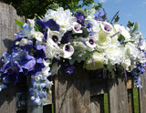 Wedding Arch Flowers - Purple and white Rose swag - Wedding swag - Wedding Arbor Decorations .