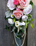 Wedding Arch  - Pink and White Rose swag - Wedding swag - Wedding Arbor Decorations - Julie Butler Creations