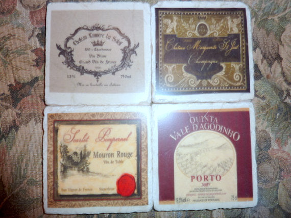 Stone Coaster set - Vintage Labels -French Country - Stone Coasters
